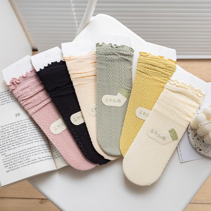 天鹅绒袜子女中筒袜日系网眼透气春夏薄款甜美木耳边ins潮堆堆袜