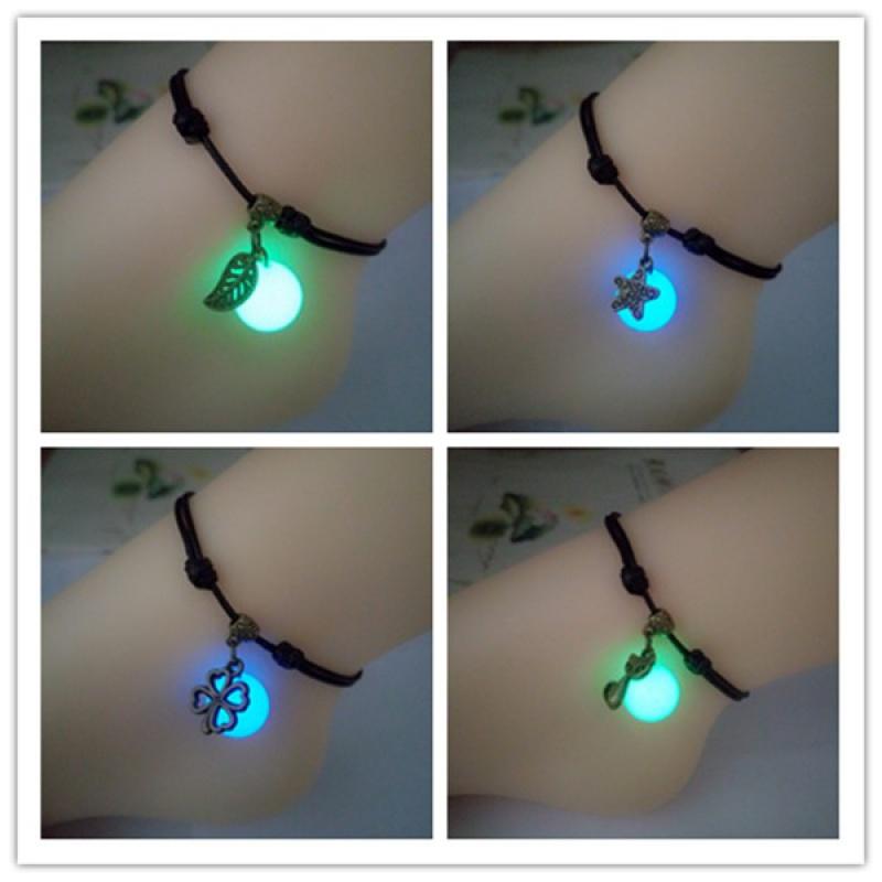 Harajuku simple luminous beads Anklet Mori female students Luminous Gem lovers foot Rope Bracelet luminous accessories