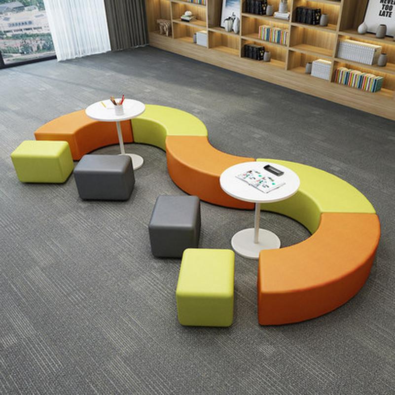异形简约现代新款组合布艺拼接教育培训机构休闲等待区半圆形沙发
