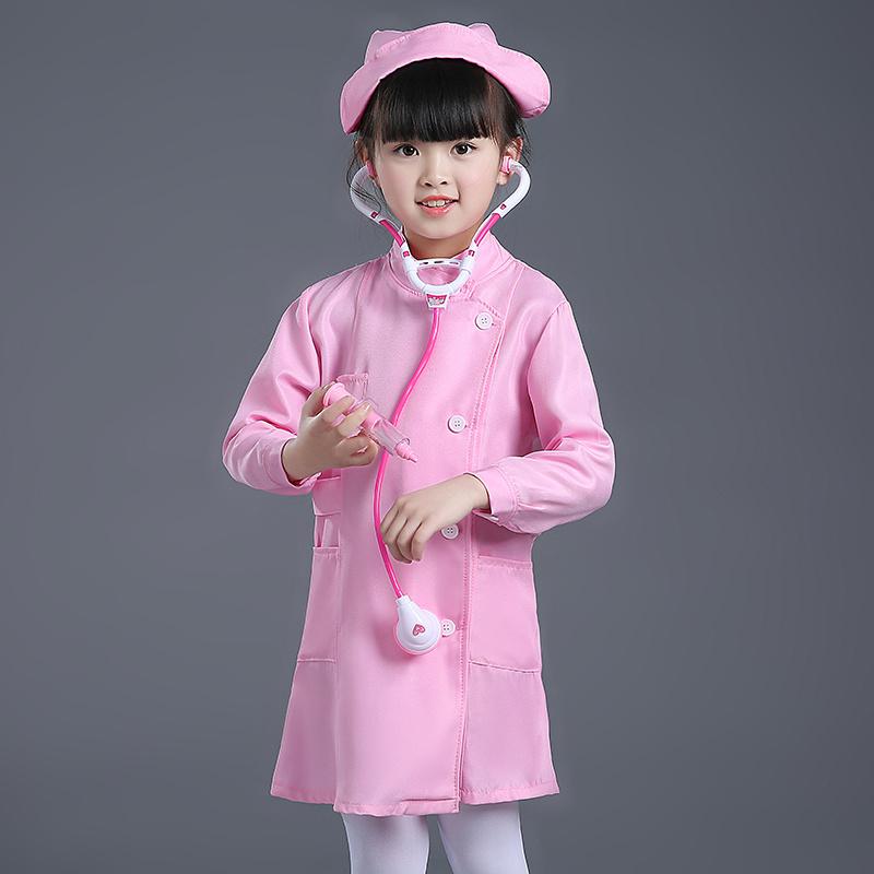职业游戏扮演角色扮演女童大夫创意定制护士帽儿童医生护士演出服