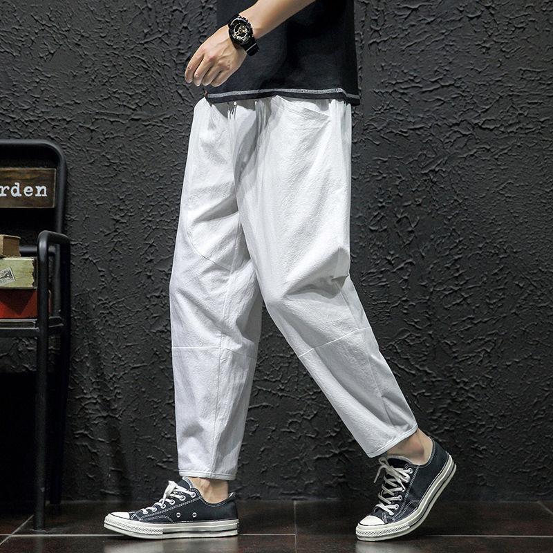 欧哥弟人专柜夏季男士宽松薄款舒适八点大码透气潮流休闲九分裤。