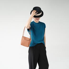 远家原创女装棉麻圆领盖袖蓝色衬衫气质通勤短袖清凉T恤春新Y-082