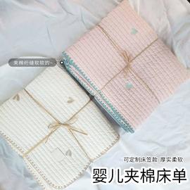 ins韩国宝宝加厚床单婴儿床褥夹棉床单 儿童绗缝包边新生儿小褥子图片