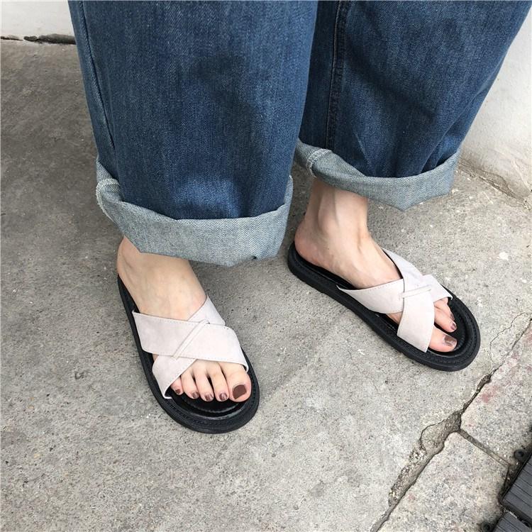 夏季韩版学院风拖鞋女夏外穿简洁交叉绒面沙滩鞋学生休闲鞋潮