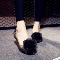 查看网红韩版新款果冻凉鞋夏女平底大花朵鱼嘴透明水晶塑料平跟凉拖鞋价格