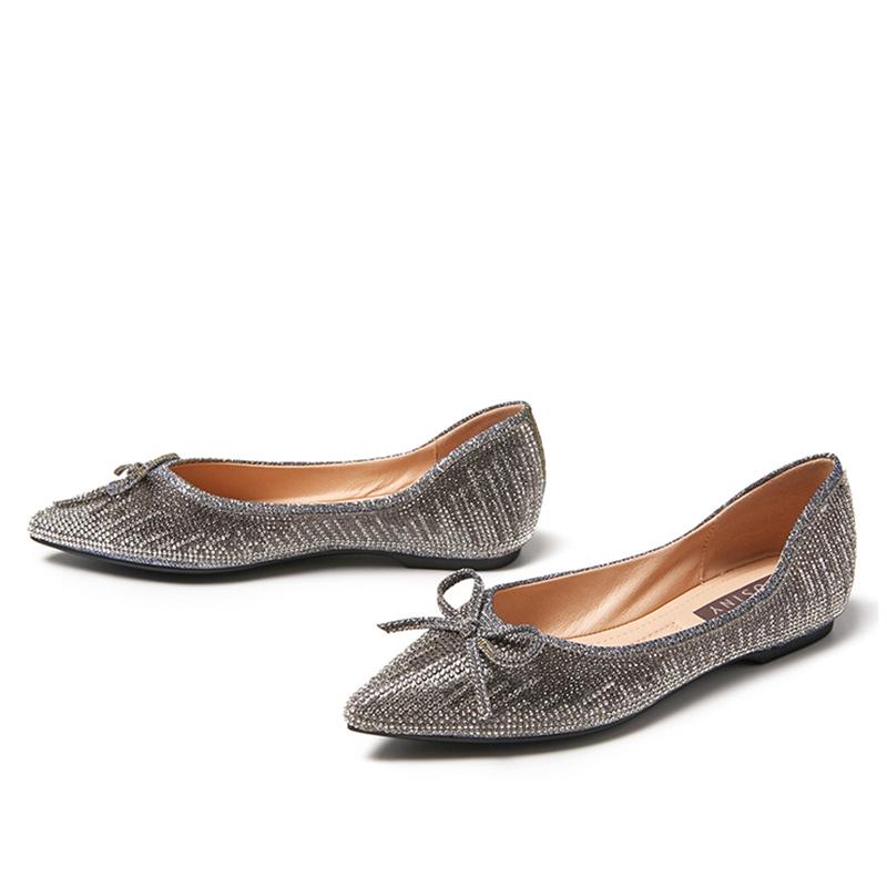卓诗尼平底单鞋女春季新款浅口尖头平跟蝴蝶结舒适女鞋
