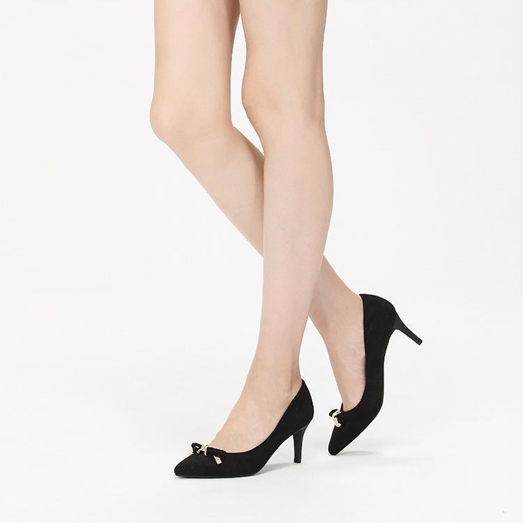 达芙妮春秋女单鞋子浅口尖头细高跟蝴蝶结绒面通勤时尚