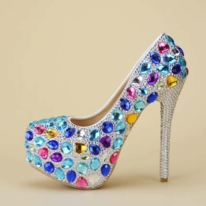 新品高跟鞋婚鞋水钻蓝女童婚礼新娘水晶鞋婚纱晚宴礼服亲子演出拍