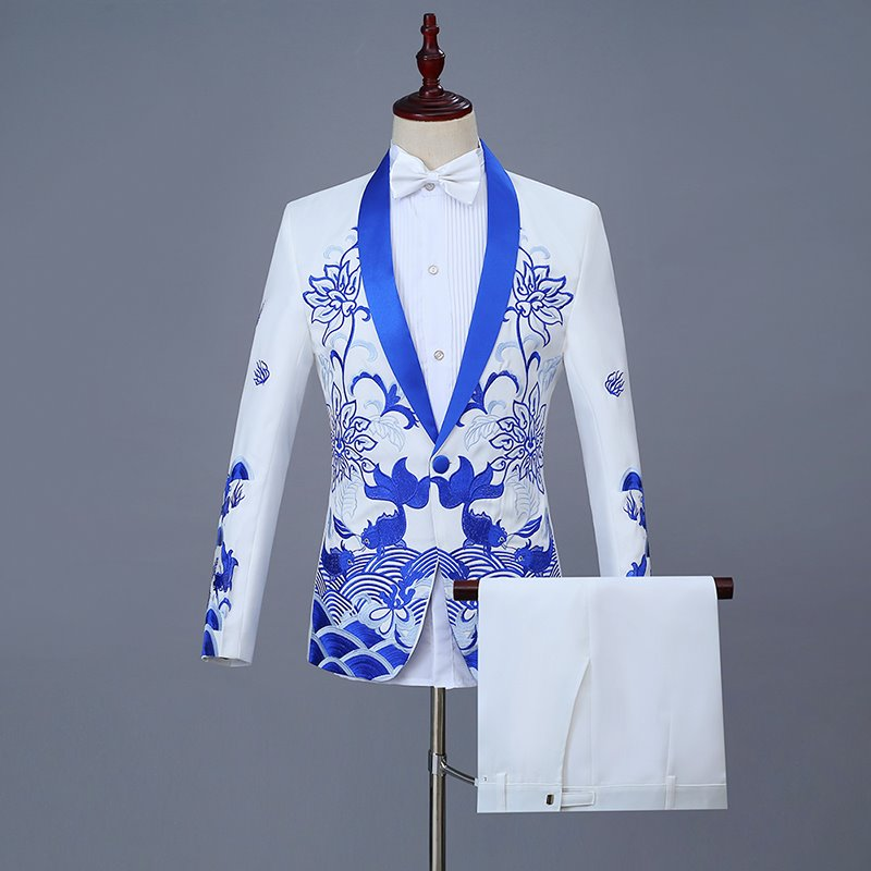 Chinese Style Mens dress performance suit fish bone embroidery suit every year groom host singer Chinese style