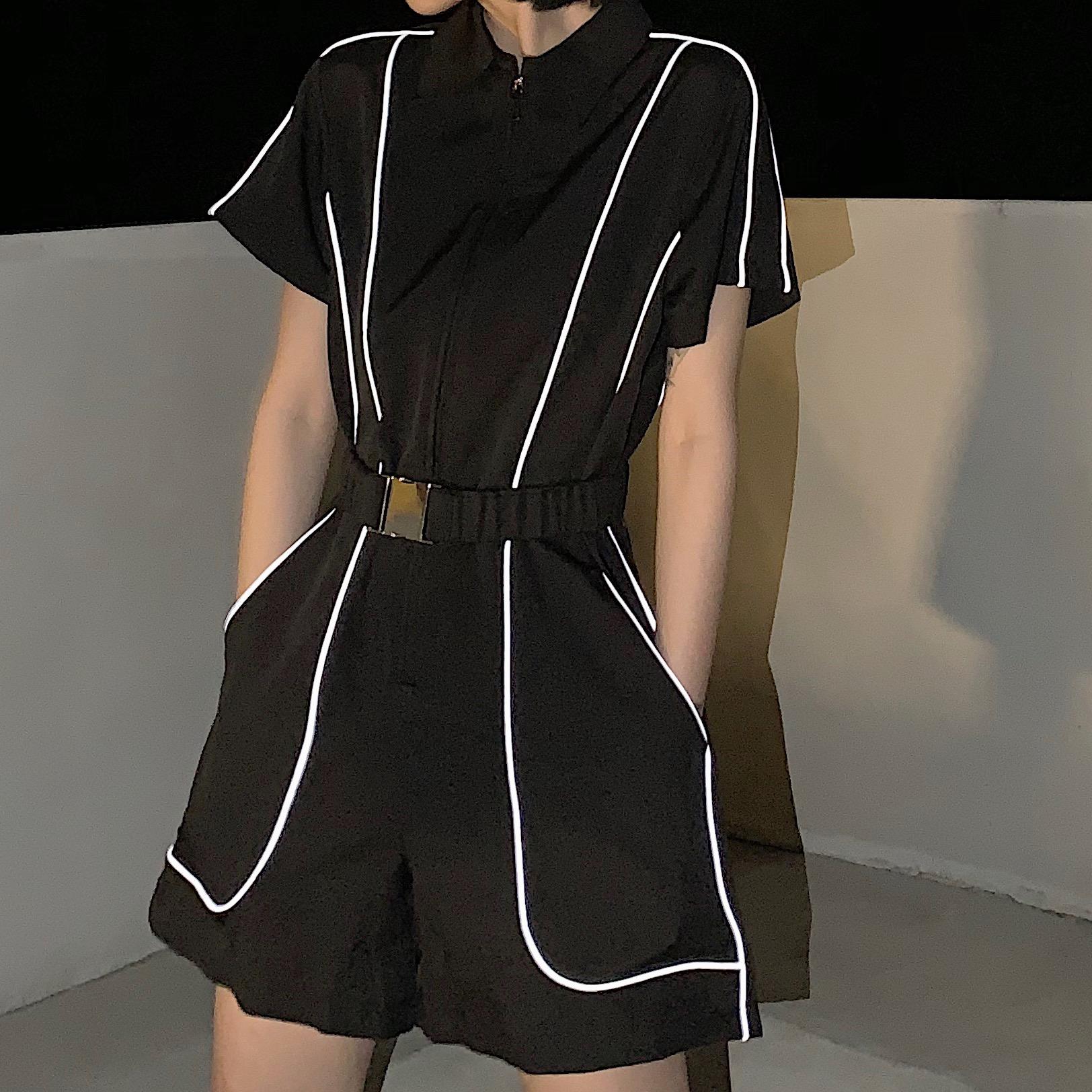 工装短袖连体裤夏季韩版复古暗黑系宽松显瘦反光连身短裤女学生潮
