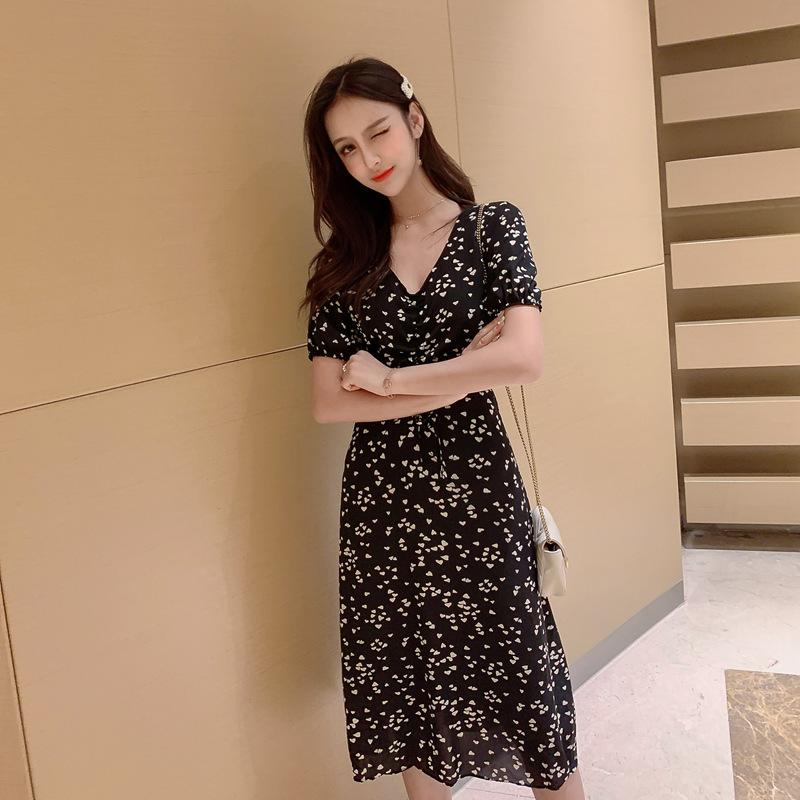 1839#实拍~小视频~2019夏装新款V领雪纺连衣裙 国泰2楼100档拿货