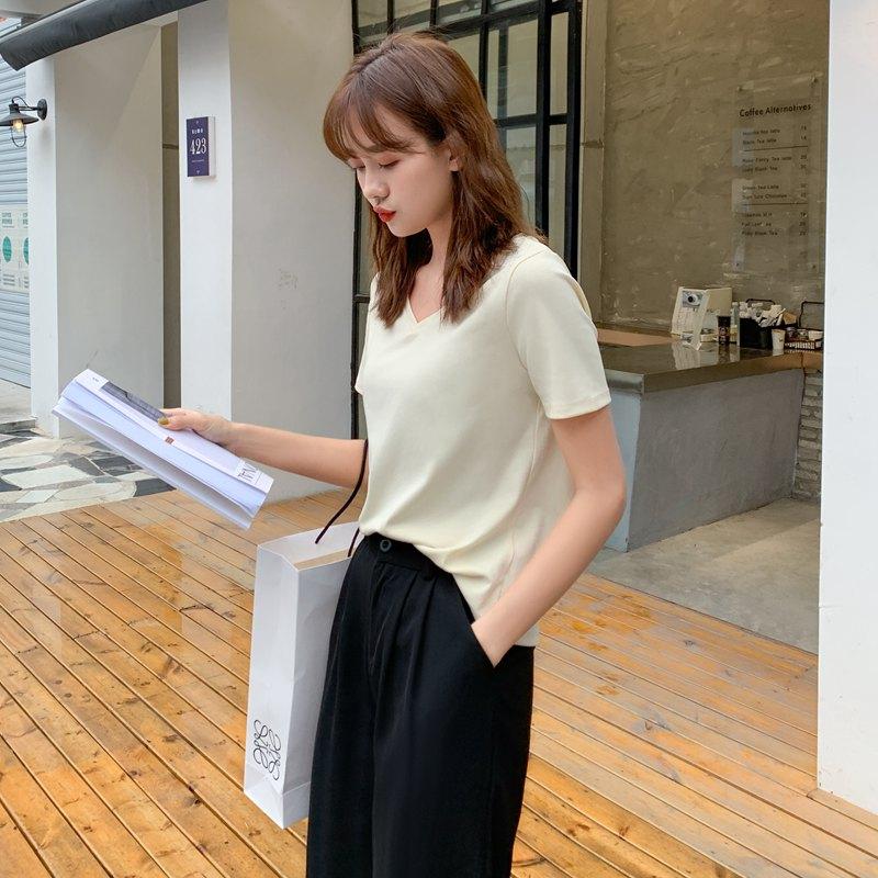大量现货~2020主推款~实拍~韩版女装简约短袖纯棉纯色V领T恤夏