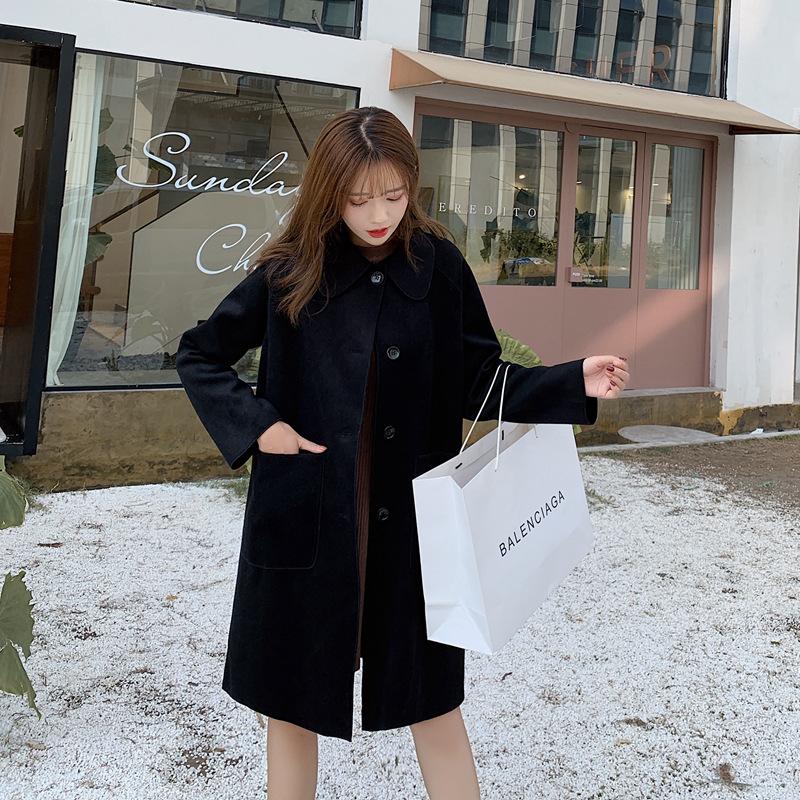实拍~小视频~2019秋冬款韩系单排扣显瘦加棉加厚中长款毛呢外套