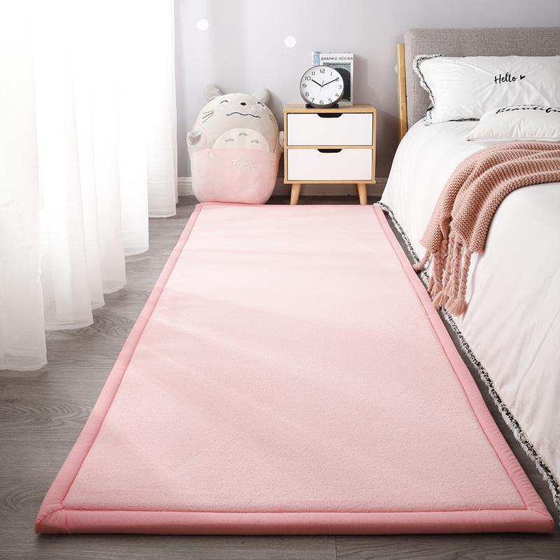 日式加厚宝宝防摔地垫卧室床边粉色地毯加绒婴儿防摔垫儿童爬行垫