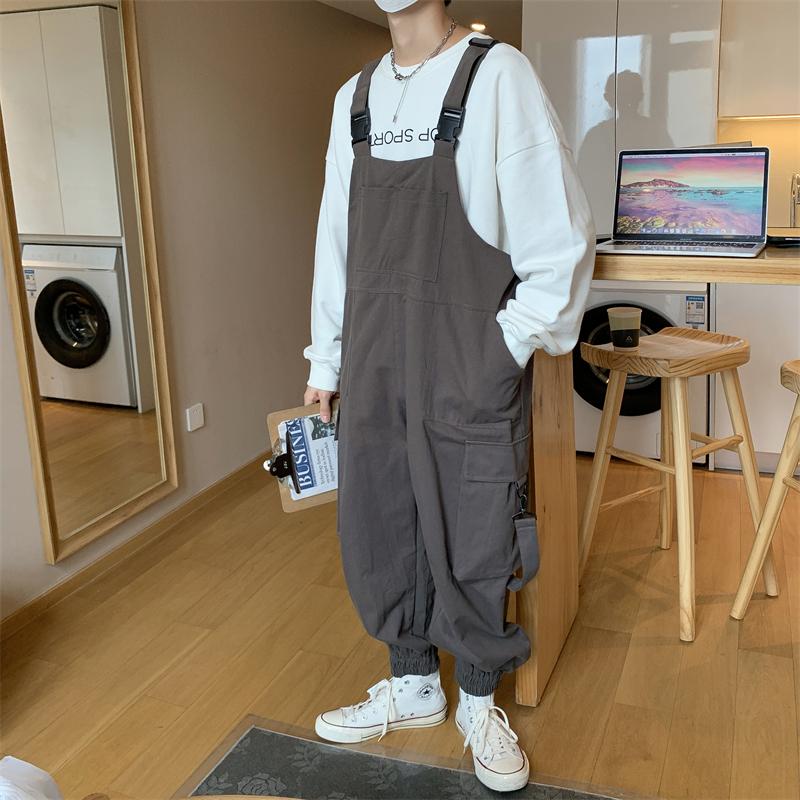 休闲工装背带裤男2020秋新款韩版ins复古宽松松紧束脚裤K069-P58