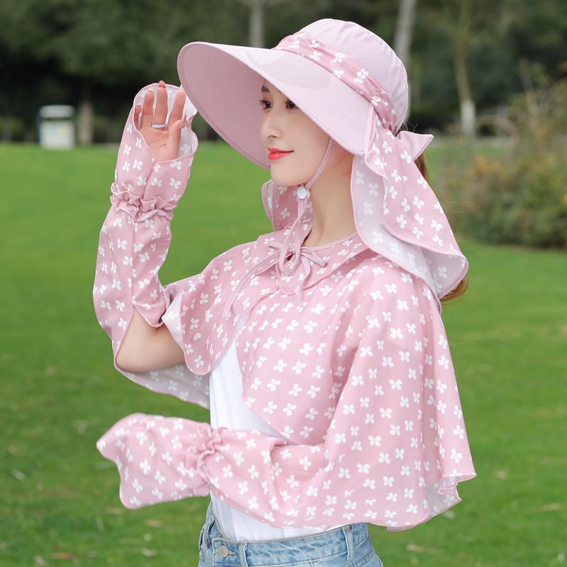帽子遮阳帽女夏季骑车防晒遮脸采茶帽防紫外线凉帽防风大沿太阳帽