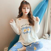 韩版 宽松清新学生家居服 纯棉两件套装 秋季 依蕾斯睡衣女秋长袖