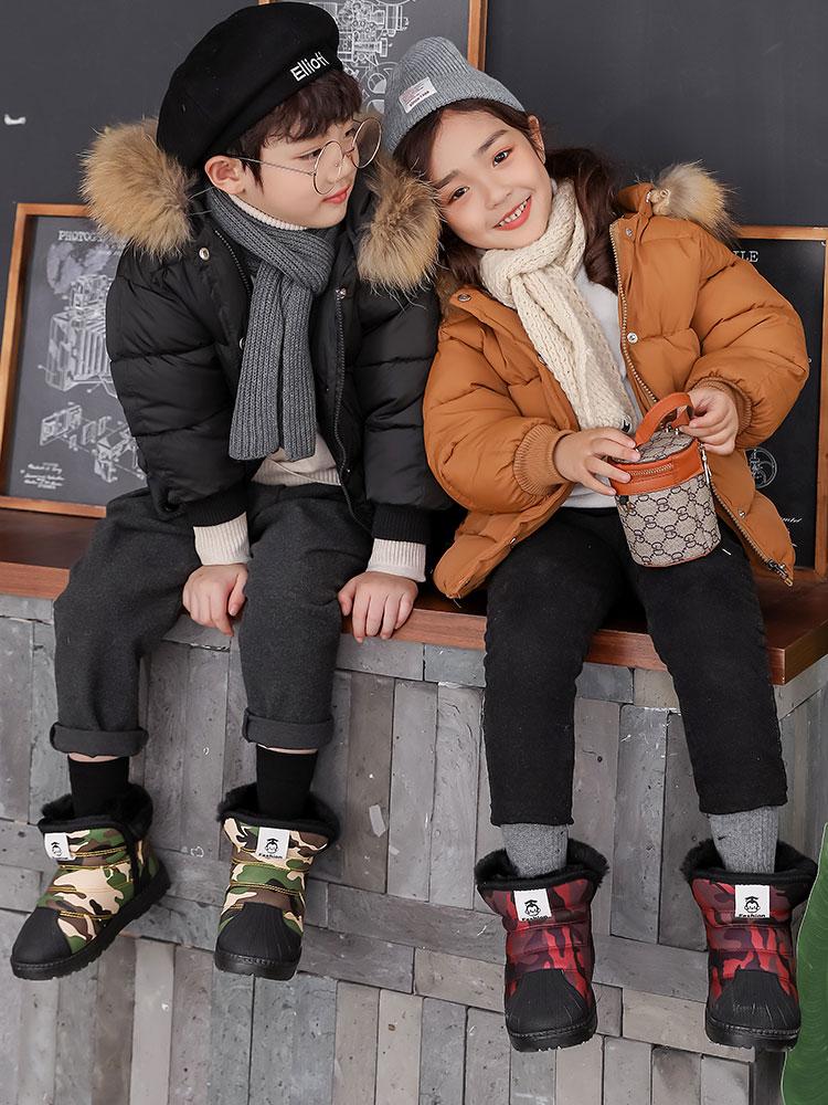 儿童雪地靴男女童加绒棉鞋保暖防水小童棉靴子防滑男女宝宝雪地棉