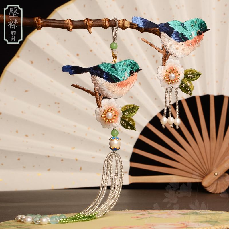 原创手工缝制刺绣复古旗袍汉服领针