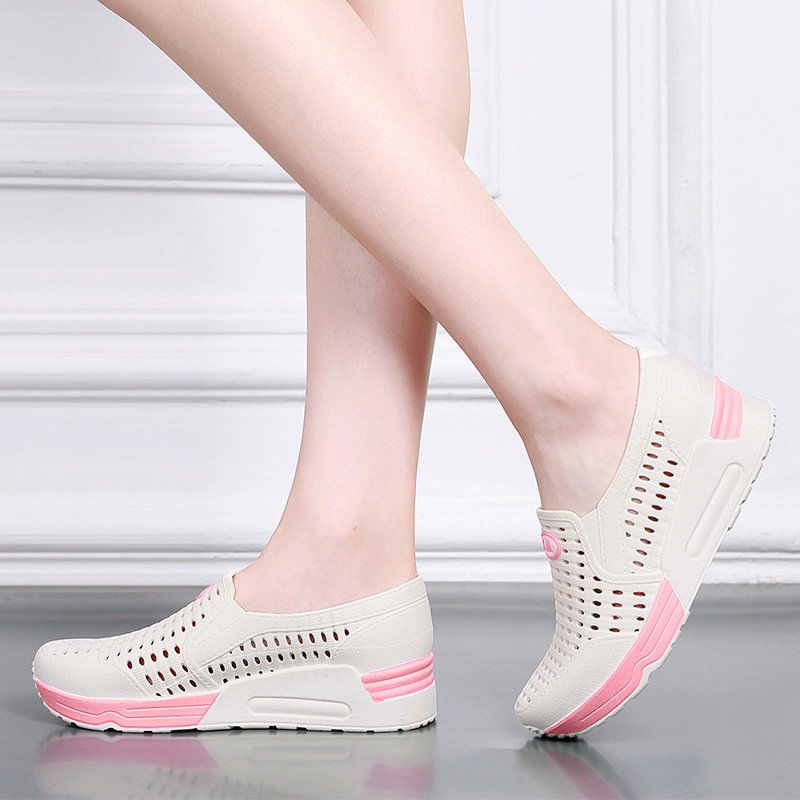 Sandals new white nurse shoes with holes inside, slope heel sandals, hollow sand shoes with thick soles