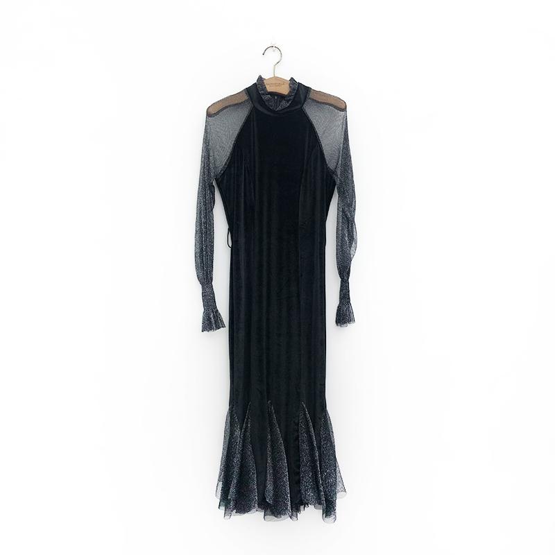 【尼彩服饰】2020年早春款韩国绒鱼尾边连衣裙8038  年15号后发货
