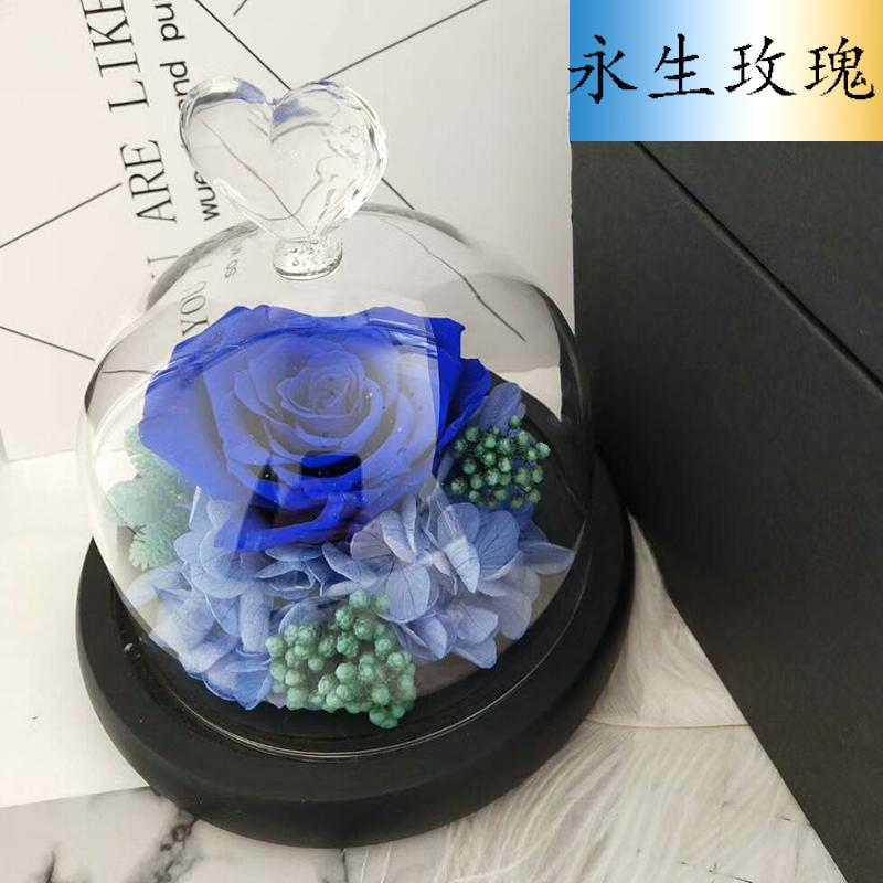 康乃馨永生花玻璃罩母亲节蓝色妖姬礼盒生日礼物送女生情人节礼品