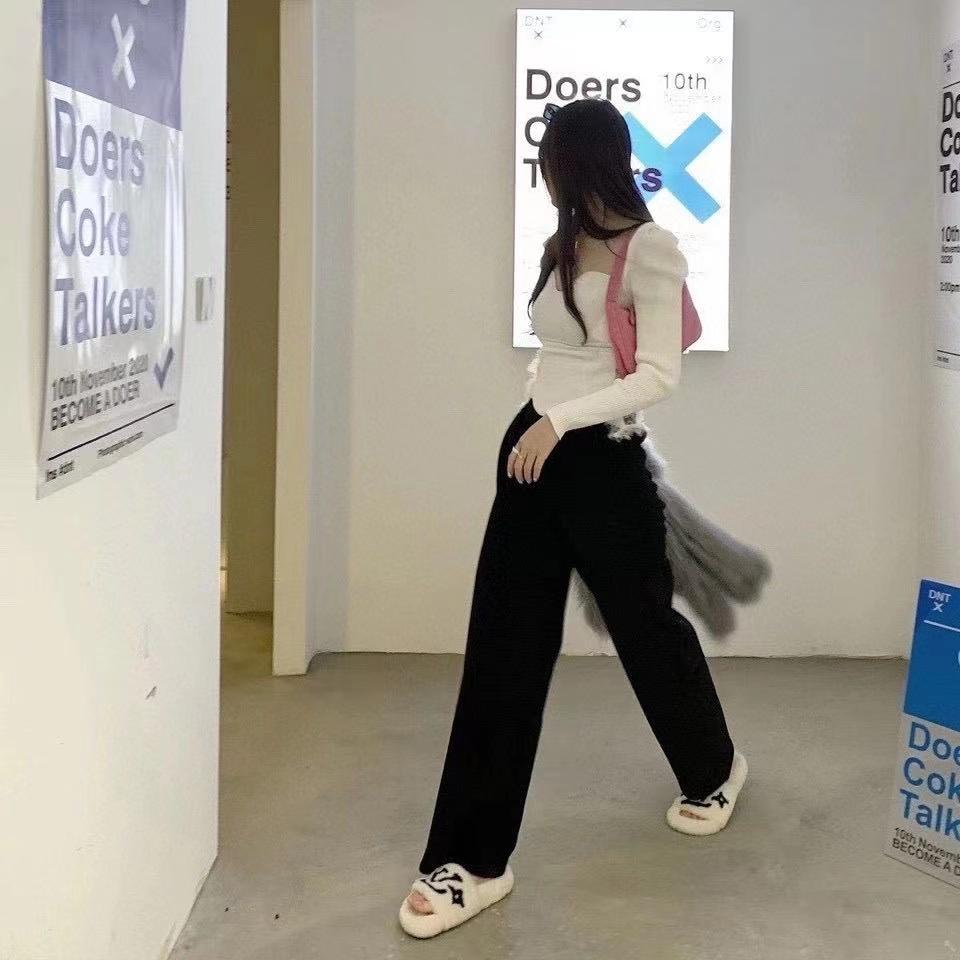 2021新款雪尼尔阔腿裤女春秋加绒加厚高腰直筒垂感条绒宽松显瘦