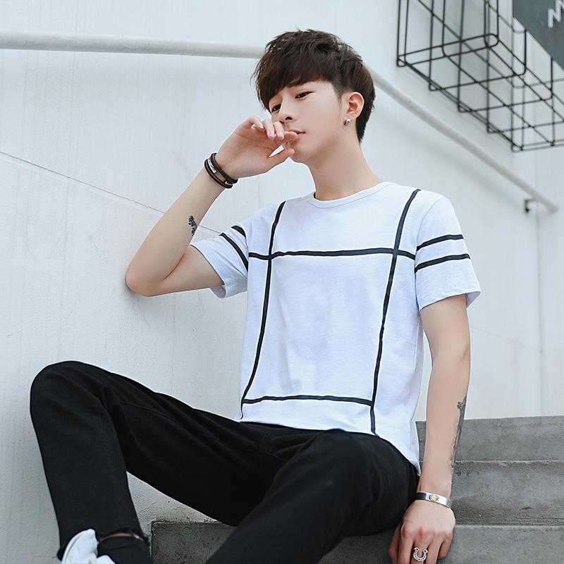 实拍夏季新款短袖男韩版修身T恤青少年休闲圆领打底衫上衣男701