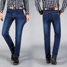 D实拍春夏款超高弹力牛仔裤男装修身直筒青年休闲长裤子男D1681