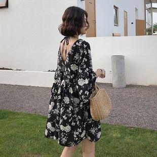 款 宽松短袖 裙子夏时尚 2020新款 两面穿雪纺裙 孕妇连衣裙夏装 中长款