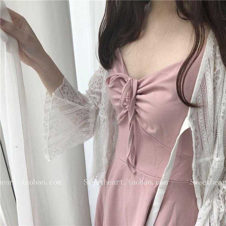 【Sweetheart】 十里桃花  胸口抽带温柔吊带连衣裙