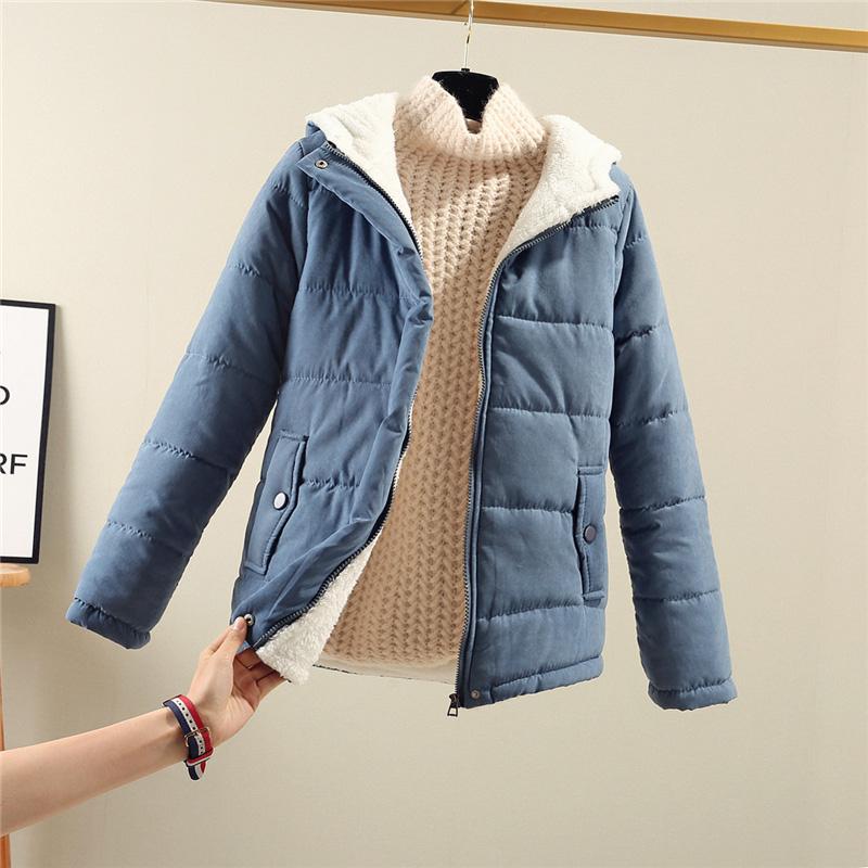 秋冬新款羊羔绒棉衣女小清新连帽纯色加绒加厚短款保暖学生棉服女