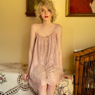 孕妇睡衣春夏薄款 怀孕期哺乳月子服纱布可外穿宽松蕾丝睡裙连衣裙