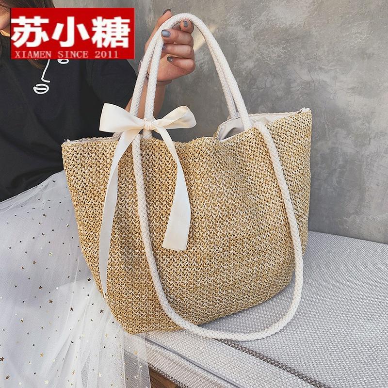 2021新款欧美大包编织女包时尚丝巾沙滩草编包简约单肩手提包