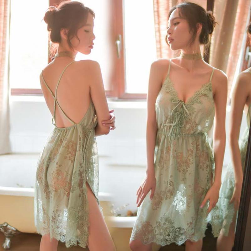 大码性感睡衣女蕾丝情趣火辣挑逗骚诱惑睡袍激情吊带睡裙两件套装