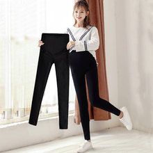 Pregnant women base pants wear 2018 new autumn and winter stomach lift pants feet pants plus velvet thick black trousers winter clothing