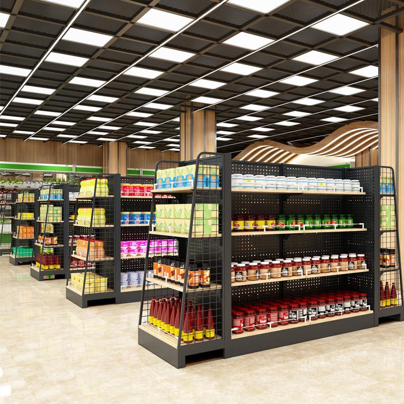 超市货架展示架柜便利店小卖部粮油米面零食饮料多层置物架带挂钩