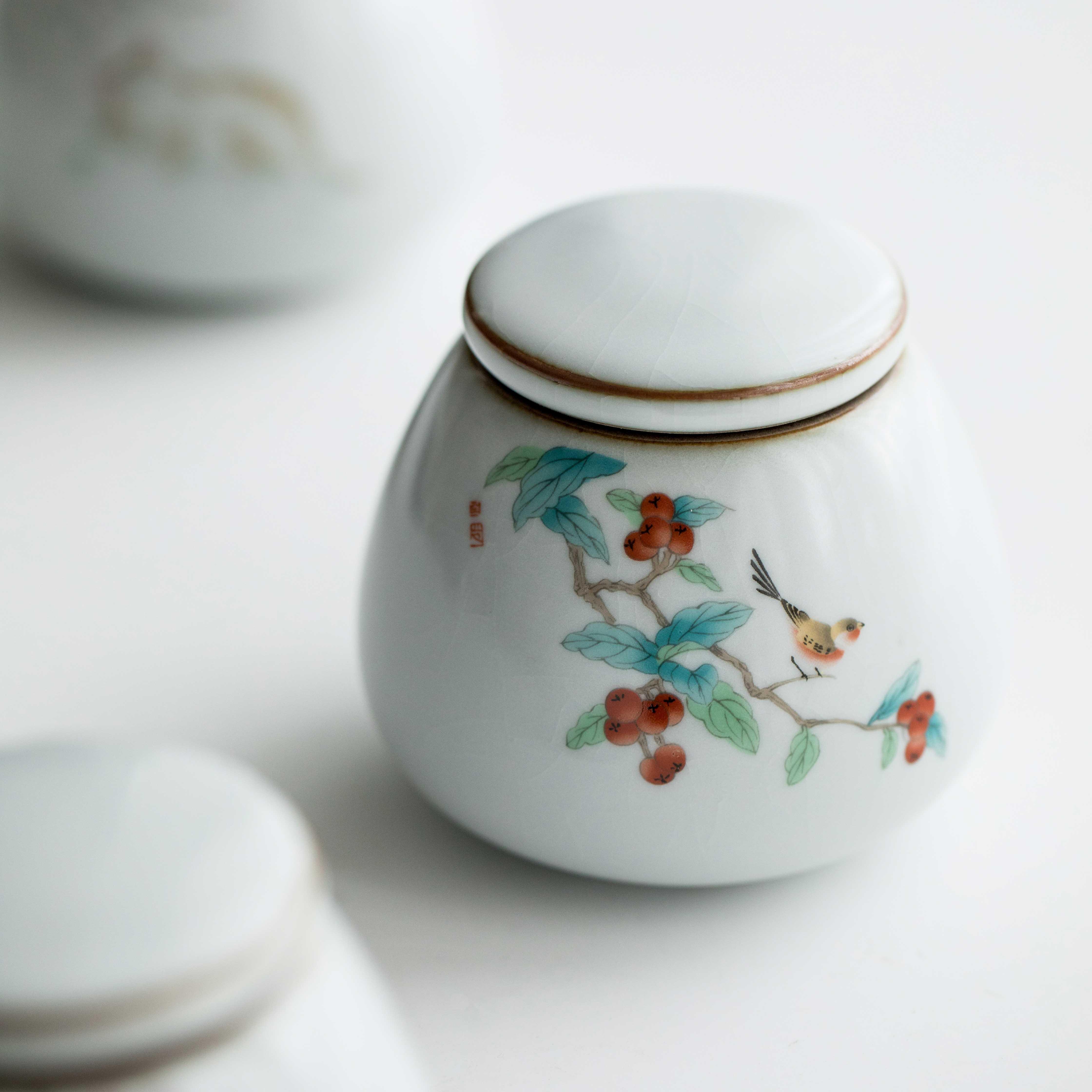 草木祠汝窑趣味小猫密封家用茶叶罐