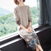 针织裙子 丝守2019秋冬高端100%羊毛印花连衣裙中长款 宽松过膝长袖