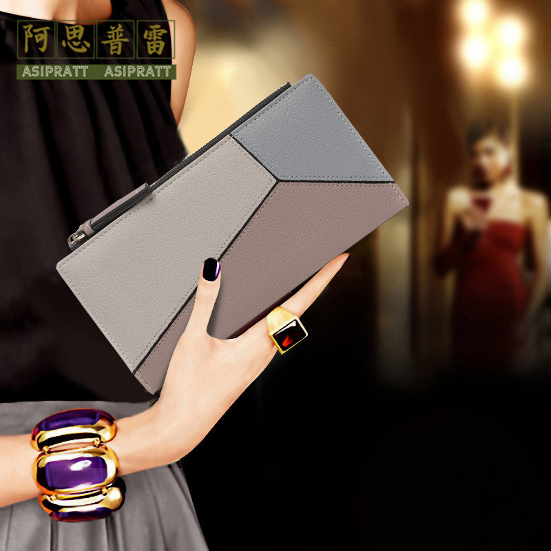 Asipratt / asplay leather folding Long Wallet womens ultra-thin mobile phone wallet one-piece contrast color