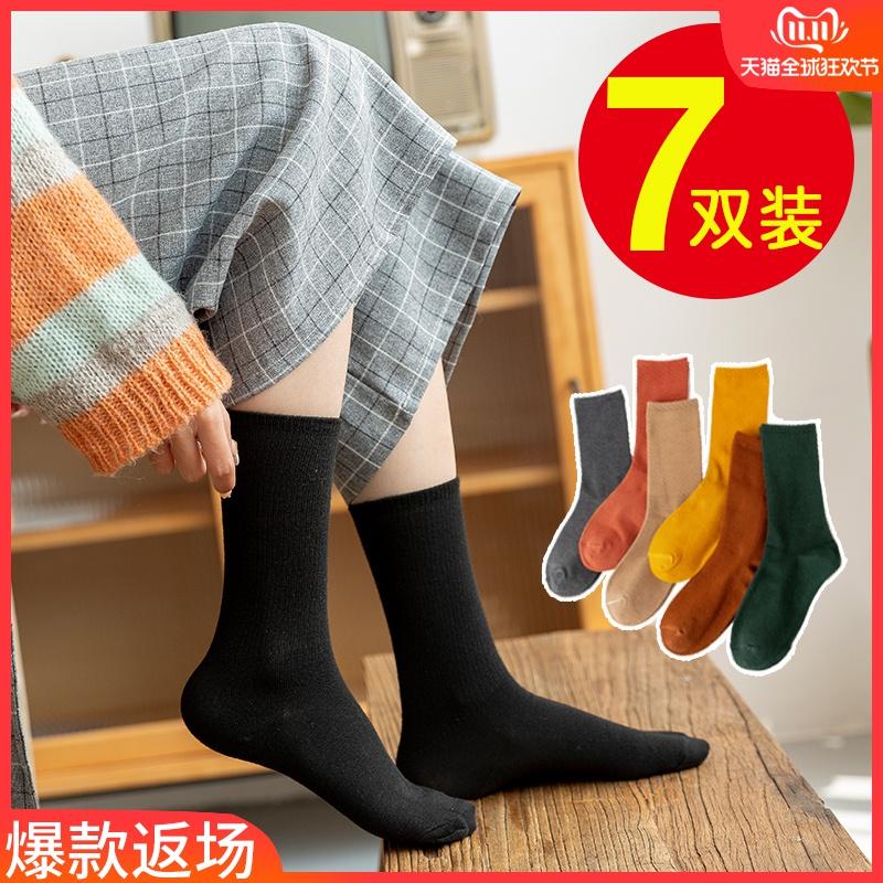 黑色女士袜子女中筒袜堆堆袜日系薄款ins潮长袜女潮街头春秋冬季