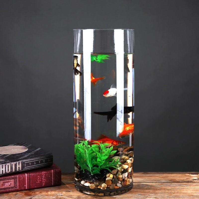 小鱼中小型生态落地圆柱形免换水迷你缸鱼缸圆柱形落地g 客厅创意34.00元包邮