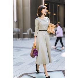 巴黎优雅赫本风大摆真皮腰带伞摆羊毛连衣裙纯色气质