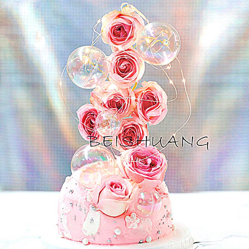 烘焙装饰ins七彩塑料透明球唯美生日派对蛋糕装饰插件甜品台装扮