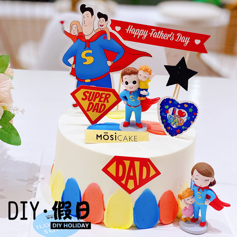 A superman father and mother decorate fathers day birthday cake baking decoration