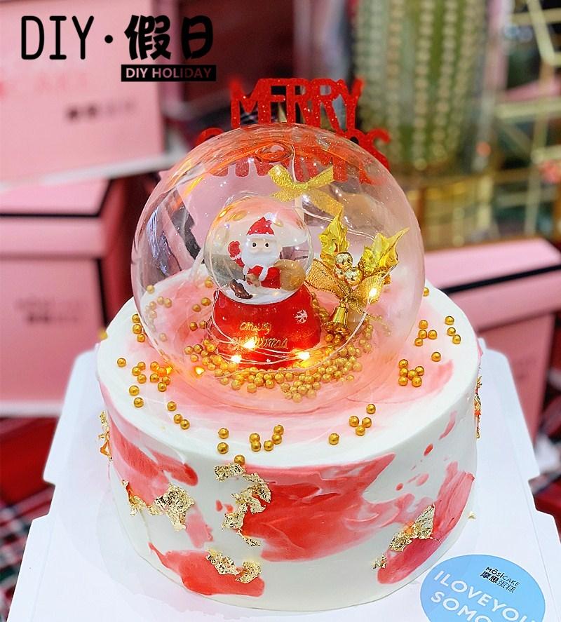 Christmas crystal ball ornament baking cake decoration Santa Claus sleigh gift bag set up dessert table doll