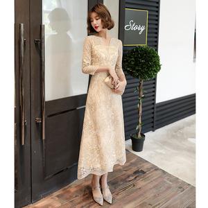 香槟色晚礼服裙女2020新款宴会高贵气质生日派对连衣裙高端小个子图片