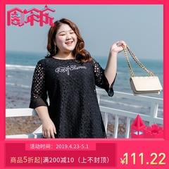 甜觅特大码女装2019胖mm夏装胖妹妹200斤韩版字母绣花蕾丝连衣裙