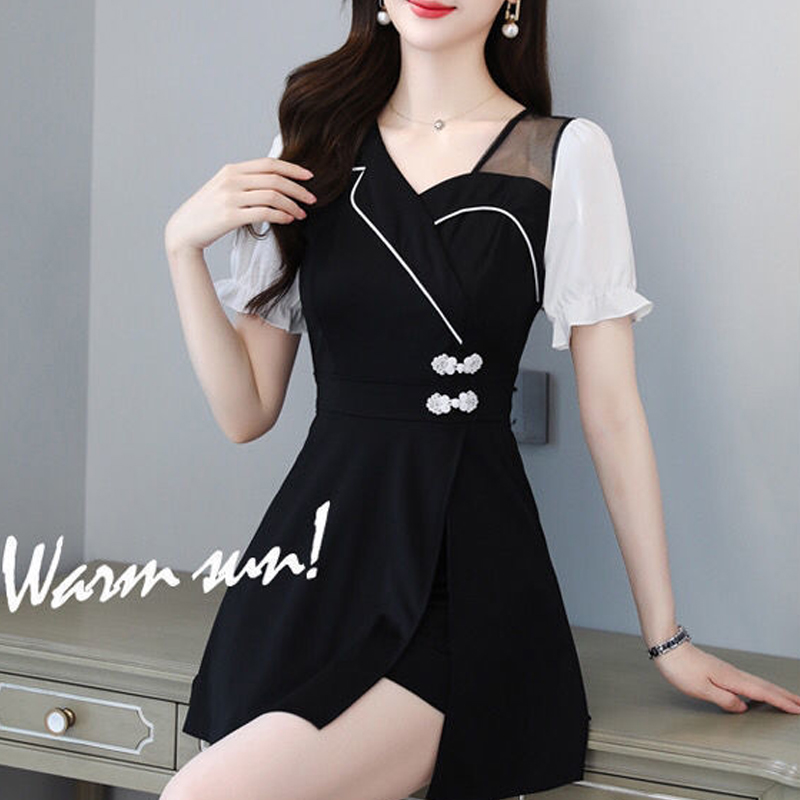 Dress female summer design Hepburn style small black skirt pants suit short sleeve waist closing solid color light cooked Chiffon two-piece set