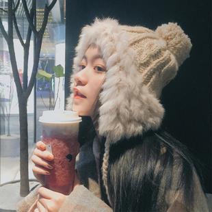 秋冬季毛线帽女韩版可爱毛球护耳雷锋帽冬天保暖兔毛针织帽子潮品牌